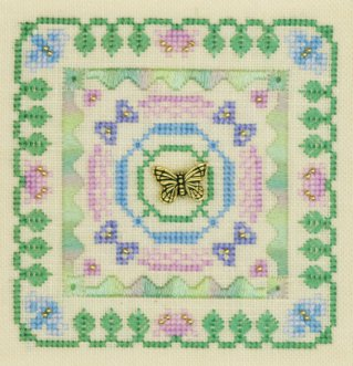 Elizabeth's Designs Butterfly Square With Charm & Floss