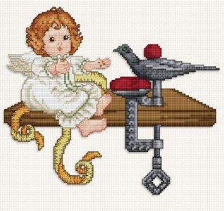 Ellen Maurer  StrohStitching Angel With Sewing Bird