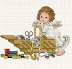 Ellen Maurer  StrohStitching Angel With Workbox