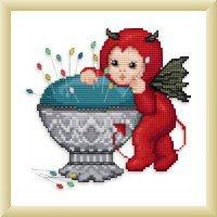 Ellen Maurer  StrohLittle Stitch Devil With Pincushion