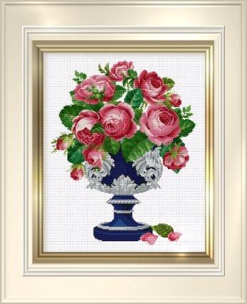 Ellen Maurer-Stroh Roses in Blue & Silver Cup