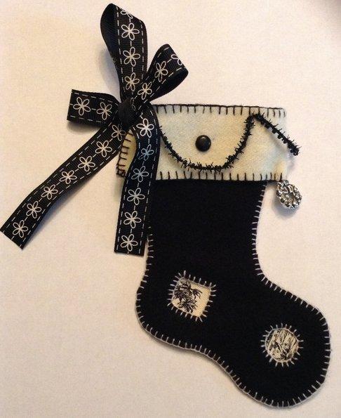 Fern Ridge Collections Black & White Christmas Stocking