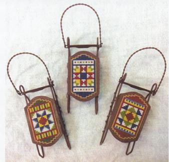 Foxwood Crossings Sled Ornaments ~ Pieceful Trios
