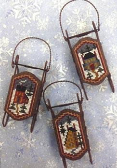 Foxwood Crossings Sled Ornaments ~ Saltbox Sleds