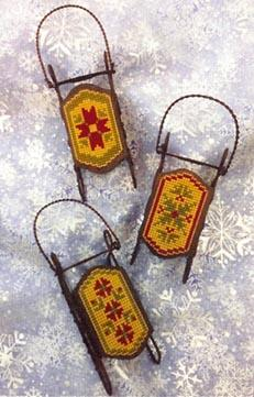 Foxwood Crossings Sled Ornaments ~ Quaker Sleds