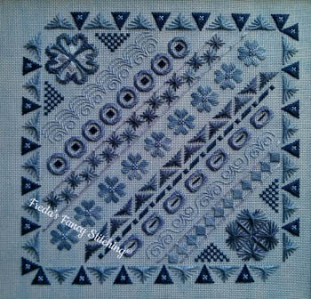 Freda's Fancy Stitching Blue Doodles