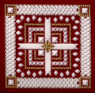Freda's Fancy Stitching Rhapsody On Red ~ Counted Needlepoint