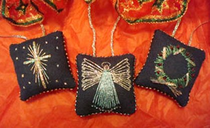 Freda's Fancy Stitching Tiny Christmas Pillows