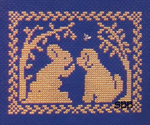 Clearance Handblessings Spring Silhouette ~ Bunny Tells Puppy Don't Chase Bunnies