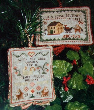 Clearance Homespun Elegance LTD  Merry Noel Collection ~ Annual Sampler Ornaments 1993-1994
