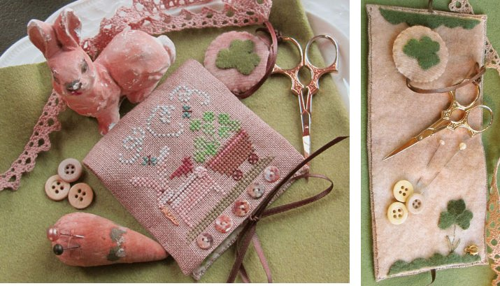 Clearance Homespun Elegance LTD Shamrock Bunny Needle Case