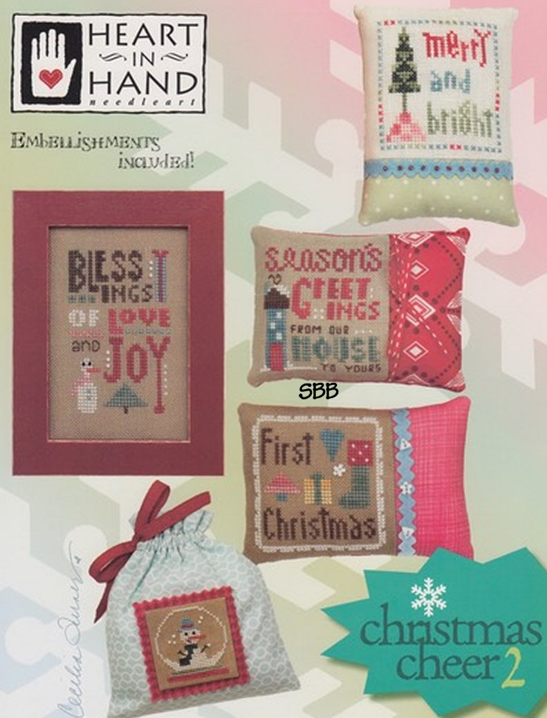 Heart In Hand Needleart Christmas Cheer #2 With Embellishments