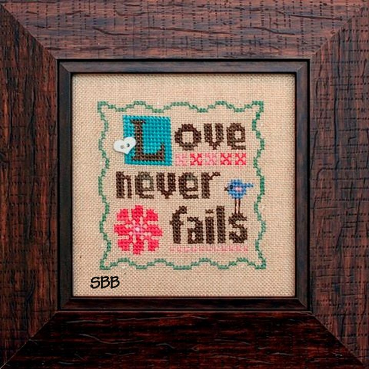 Heart In Hand Needleart Love Never Fails With Embellishments