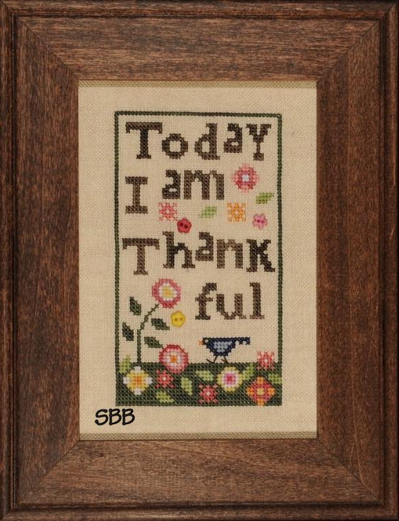 Heart In Hand Needleart Thankful With Buttons