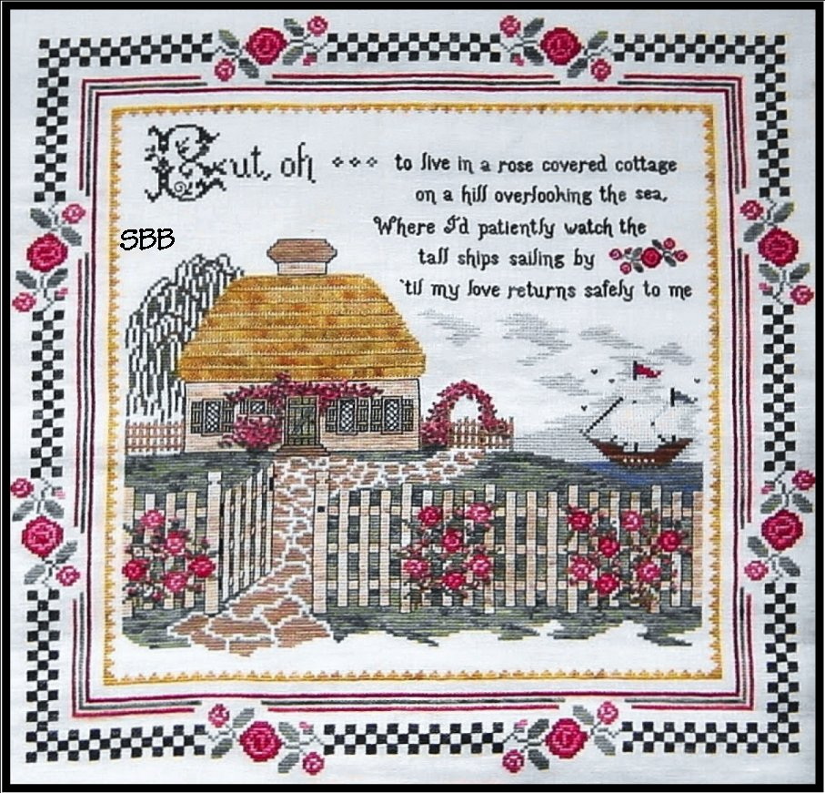 Heart's Ease Examplar Workes Cottage By The Sea Sampler