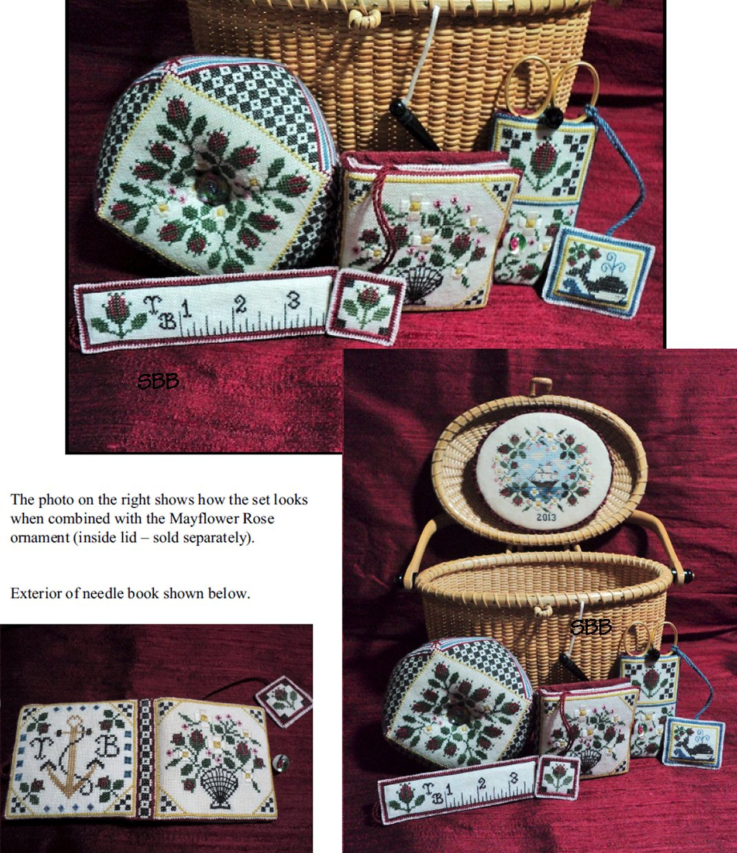 Heart's Ease Examplar Workes Mayflower Rose Sewing Set