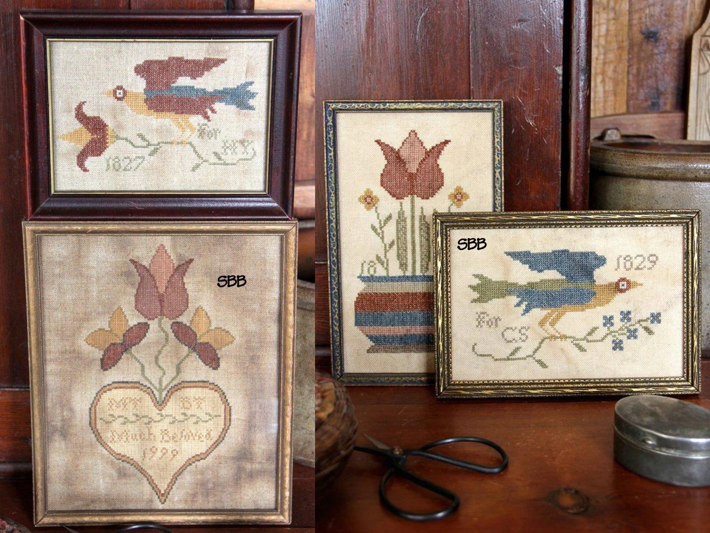 Heartstring Samplery Fraktur Bird & Bouquet