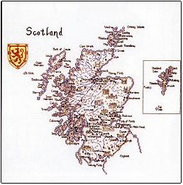 Heritage Crafts HC0132 Susan Ryder ~ Britain In Stitches ~ Map of Scotland