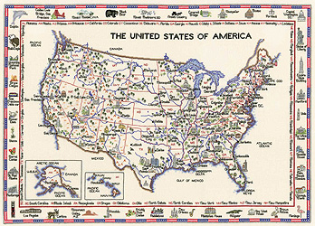 Heritage Crafts HC0578 Susan Ryder ~ Heritage Collection ~ United States of America Map
