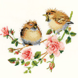 Heritage Crafts HC0778 Valerie Pfeiffer ~ Chickadees ~ Rose Chick-Chat