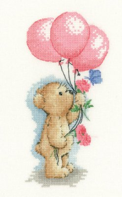 Heritage Crafts HC1121 Sue Hill Collection ~ Toffee Bear ~ Toffee With Balloons