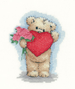 Heritage Crafts Kits  HCK1138A Sue Hill Collection ~ Toffee Bear ~ Toffee With Heart ~ 14 Count Aida