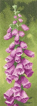 Heritage Crafts Kits HCK1330 John Clayton ~ Flower Panels ~ Foxglove ~ 27 Count Evenweave