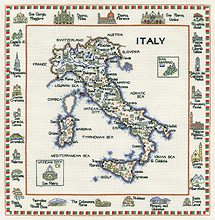 Heritage Crafts Kits HCK0583 Susan Ryder ~ Heritage Collection ~ Italy Map