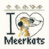 Heritage Crafts Kits HCK0642 Aida Mini Kit ~ I Love Meerkats