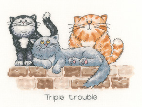 Heritage Crafts Kits HCK0886 Peter Underhill ~ Cats Rule ~ Triple Trouble