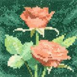 Heritage Crafts Kits HCK0890 Aida John Clayton ~ Mini Flowers ~ Mini Peach Roses