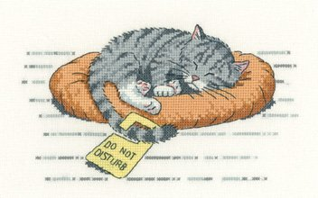 Heritage Crafts Kits HCK1134 Peter Underhill ~ Cat's Rule ~ Do Not Disturb ~ 27 Count Evenweave