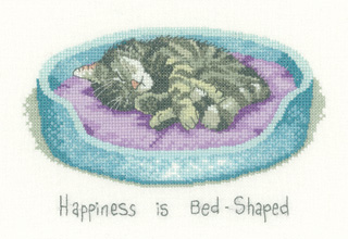Heritage Crafts Kits  HCK1139 Peter Underhill ~ Cat's Rule ~ Happiness Is Bed Shaped ~ 14 Count Aida