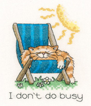 Heritage Crafts Kits  HCK1140 Peter Underhill ~ Cat's Rule ~ I Don't Do Busy ~ 27 Count Evenweave