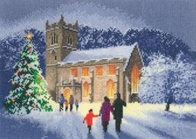 Heritage Crafts Kits HCK1144A John Clayton ~ Scenes ~ Christmas Church ~ 14 Count Aida