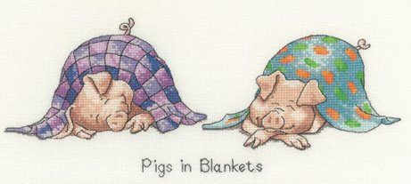Heritage Crafts Kits HCK1148A Peter Underhill ~ Peter's Farm ~ Pigs In Blankets ~ 14 Count Aida