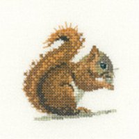 Heritage Crafts Kits HCK1149A Valerie Pfeiffer ~ Little Friends ~ Red Squirrel ~ 14 Count Aida