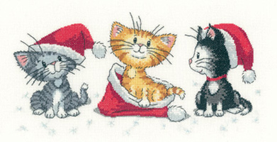 Heritage Crafts Kits  HCK1156A Peter Underhill ~ Cat's Rule ~ Christmas Kittens ~ 14 Count Aida