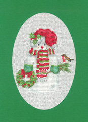 Heritage Crafts Kits HCK1162 Green Christmas Cards Snowman Set Of Three