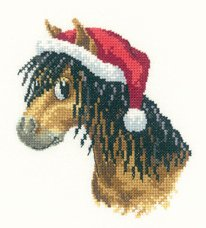 Heritage Crafts Kits HCK1166A Peter Underhill ~ Peter's Farm ~ Christmas Pony ~ 14 Count Aida