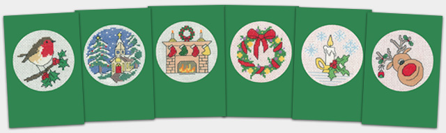 Heritage Crafts Kits HCK1175 Green Christmas Cards Set Of Six