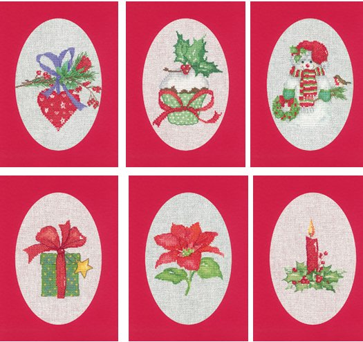 Heritage Crafts Kits HCK1178 Red Christmas Cards Set Of Six