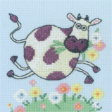 Heritage Crafts Kits HCK1179 Karen Carter ~ Cross Stitch Critters ~ Cow ~ 14 Count Aida