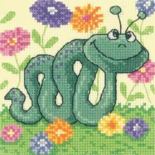 Heritage Crafts Kits HCK1181 Karen Carter ~ Cross Stitch Critters ~ Snake ~ 14 Count Aida