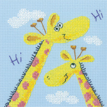 Heritage Crafts Kits HCK1183 Karen Carter ~ Cross Stitch Critters ~ Giraffes ~ 14 Count Aida