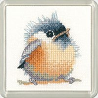 Heritage Crafts Kits HCK1190 Valerie Pfeiffer ~ Little Friends Coaster ~ Chickadee ~ 14 Count Aida