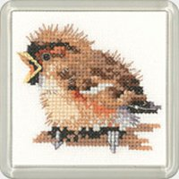 Heritage Crafts Kits HCK1192 Valerie Pfeiffer ~ Little Friends Coaster ~ Sparrow ~ 14 Count Aida