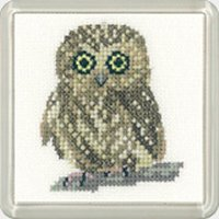 Heritage Crafts Kits HCK1193 Valerie Pfeiffer ~ Little Friends Coaster ~ Owl ~ 14 Count Aida