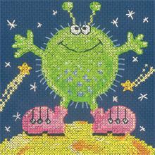 Heritage Crafts Kits HCK1197 Karen Carter ~ Cross Stitch Critters ~ Alien ~ 14 Count Aida