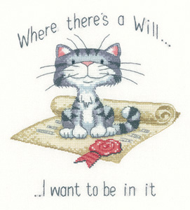 Heritage Crafts Kits HCK1201 Peter Underhill ~ Cats Rule ~ Where There's A Will ~ 27 Count Evenweave
